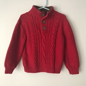 Boys red button sweater with elbow patches